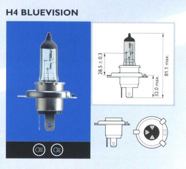 Лампа ближнего света на Ниссан Тиида имеет тип Н4 и мощность 55/60 Ватт