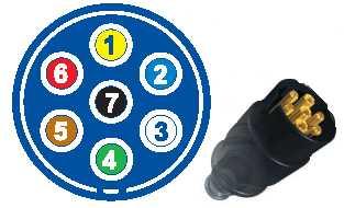 На схеме: 1 -левый поворот, 2 - противотуманный фонарь, 3 – маccа, 4 - правый поворот, 5 – лампа освещения номерного знака и правый задний боковой габарит, 6 – тормоз, 7 - левый задний боковой габарит