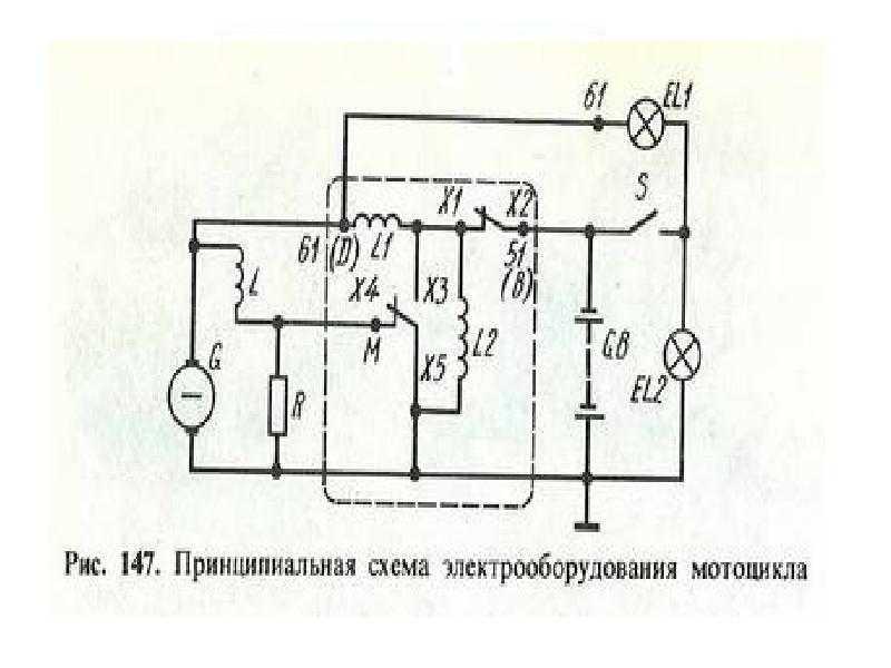 Оригинальная схема электропитания мотоцикла Ява 350 634