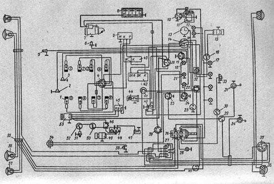 Оригинальная схема проводки ГАЗ 53