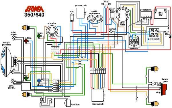Оригинальное фото электросхемы модели 640 на чешском языке