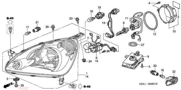 Схема блок-фары Honda CR-V