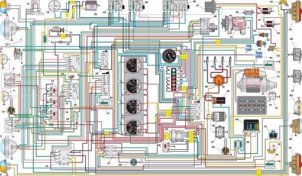Схема электрооборудования автомобиля УАЗ, оснащаемого многофункциональным подрулевым переключателем