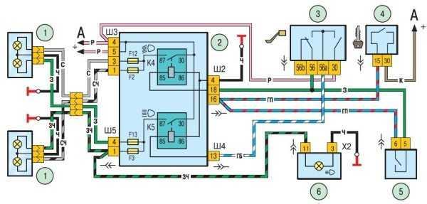 Схема электропроводки ближнего и дальнего света Chevrole Niva