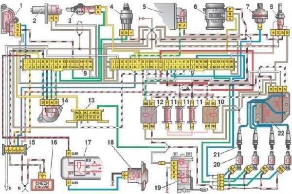 схема электропроводки ваз 2109 на инжектор