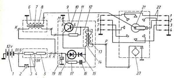 Схема контактно-транзисторной защиты