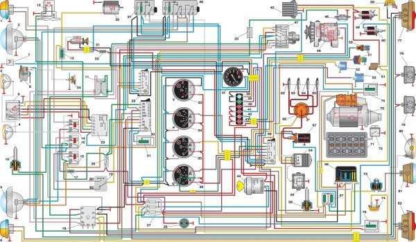 Схема проводки УАЗ с обычными подрулевыми переключателями