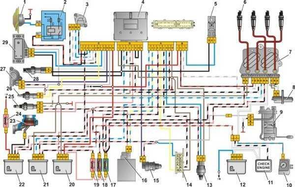 схема проводки ваз 21074 на инжектор