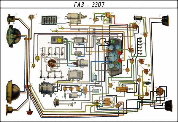 Заводская инструкция содержит цветную схему электрооборудования