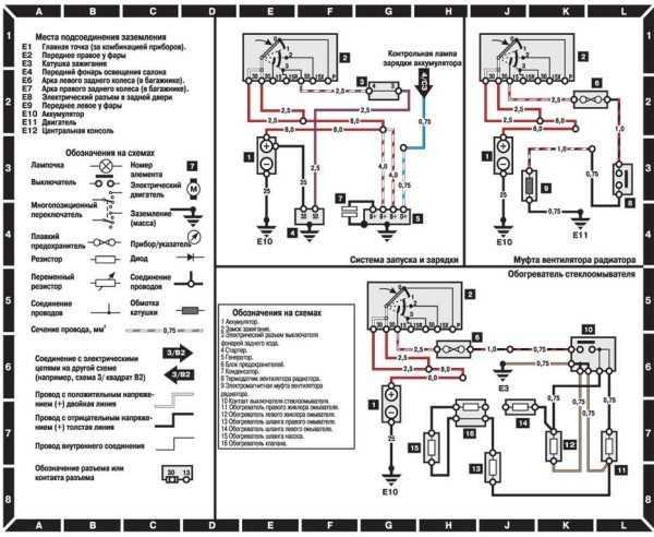 Заводская схема электрооборудования на русском языке: применяемые обозначения