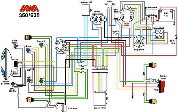 Заводская схема электропроводки Ява 638 на чешском языке