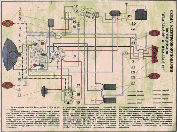 Заводская цветная схема электропроводки Ява 634