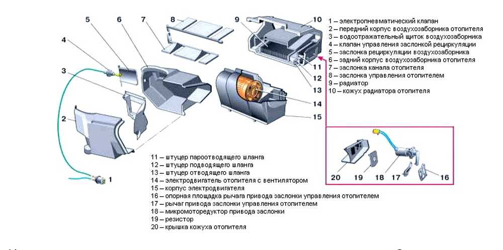Детали отопителя ВАЗ-2110
