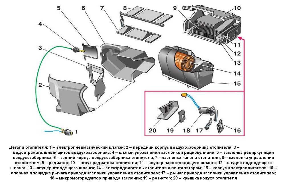 Составные детали отопителя ВАЗ-2112