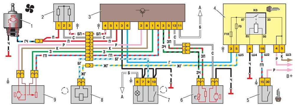 Схема системы автоматического управления отопителем ВАЗ 2110