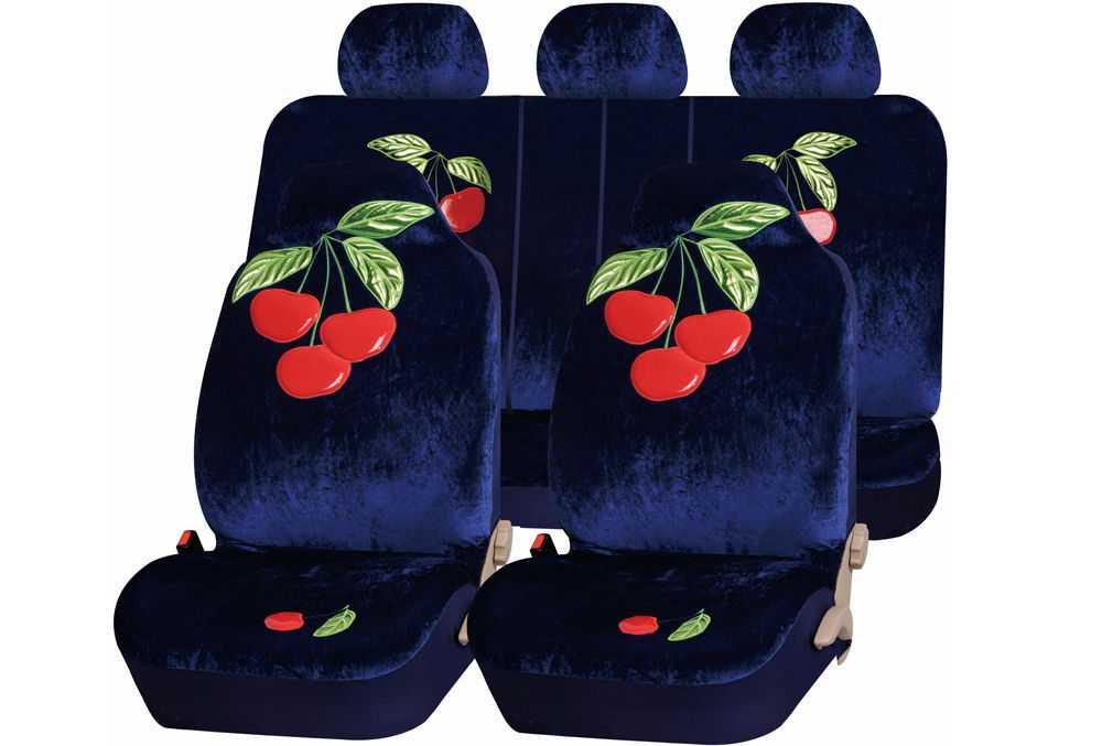 Бархатные чехлы на сиденья с вишенками