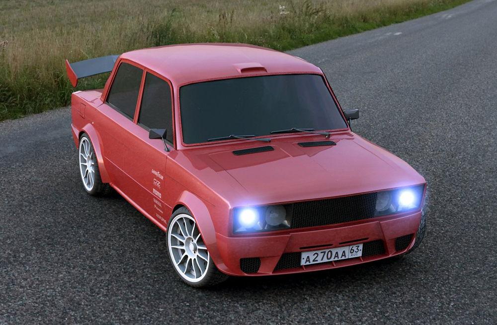Тюнингованный ВАЗ-2106 красного цвета