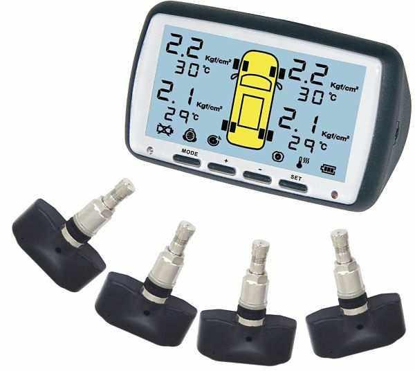 Главный блок и датчики системы контроля давления в шинах