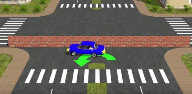 автомобиль разворачивается без выезда на встречную полосу
