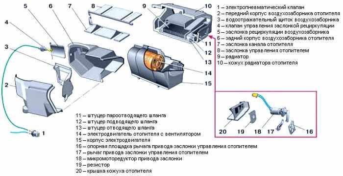 схема - устройство печки ваз 2110-12