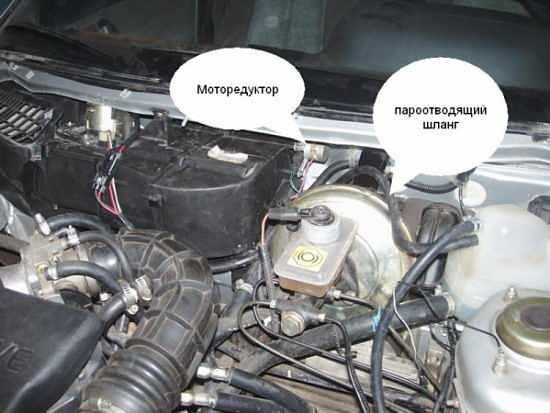 моторедуктор и паровыводящий шланг