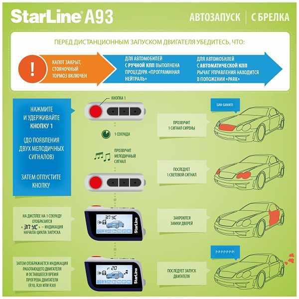 Настройка автозапуска в StarLine A93 с брелка